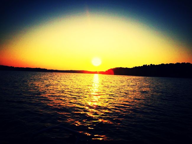 Sunset on Grand Lake Sunset Sun Beauty In Nature Orange Color Scenics Nature Tranquility Water Outdoors Sky
