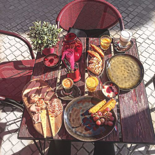 High Angle View Food And Drink Directly Above Healthy Eating Food Variation No People Table Freshness Day Outdoors Ready-to-eat Brunch Sundays France Croissant For Breakfast Pink