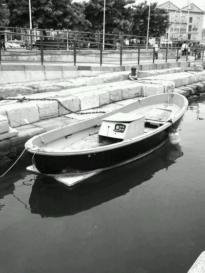 Black And White Little Boat