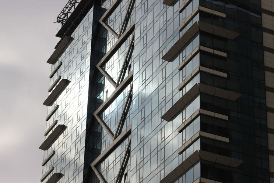 Architecture Building Exterior Built Structure City Day Glass - Material Gray Lines Lines And Shapes Low Angle View No People Outdoors Reflection Sky Urban Urban Geometry Windows