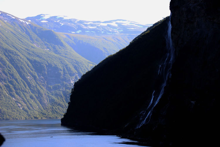 Geiranger Fjord Norway🇳🇴 Beauty In Nature Mountain Nature Scenics - Nature Sky Snowcapped Mountain Wasserfall Water