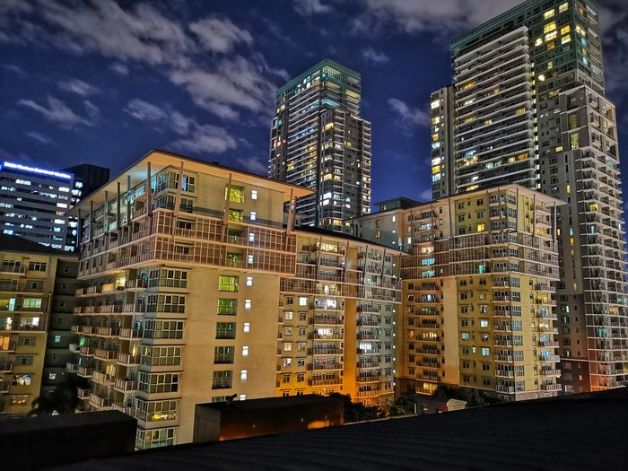 City Cityscape Urban Skyline Illuminated Modern Skyscraper Business Finance And Industry Downtown District Office Luxury Settlement Residential District Residential Structure Residential Building Human Settlement Building Tower