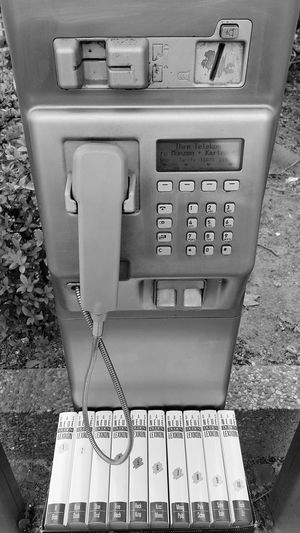 fallen out of time Telephone Communication Text Old-fashioned Close-up Pay Phone Telephone Booth Retro Vintage Aged Telecommunications Equipment Scene Coin Operated Landline Phone