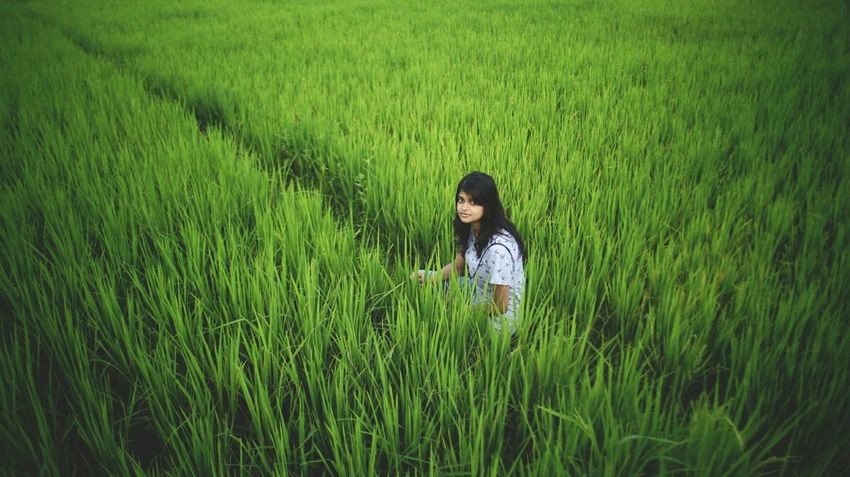 Agriculture Field Cereal Plant Farm Growth Crop  Rice Paddy Nature Girls Green Color Rice - Cereal Plant Rural Scene Teenager Outdoors Grass Plant Beauty Beauty In Nature Farmer Child Press For Progress The Troublemakers