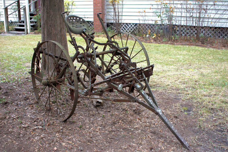 Vintage Farm Machinery Farm Cultivated Land Antique Antique Farm Machinery Rusty Horse Drawn Farm Equipment