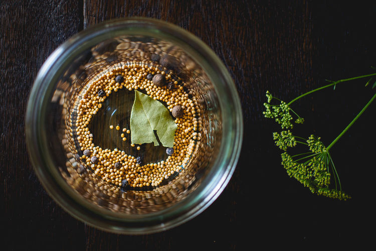 Directly Above View Of Spice In Container On Table