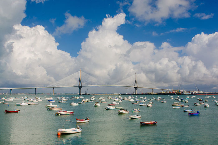 Bahia De Cádiz Barcas Bay Boats Bridge Clouds Clouds And Sky Cádiz, Spain Mar Nu Puente Sea Seascape SPAIN
