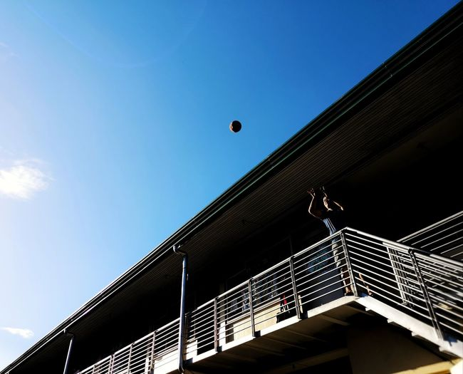 Shoot Basketball Shot Contrasts Bluesky 17.62° Flying Mid-air Sport Blue Clear Sky Jumping Sky Architecture