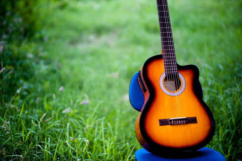 Acoustic Guitar Arts Culture And Entertainment Close-up Day Field Grass Green Color Guitar Land Music Musical Equipment Musical Instrument Musical Instrument String Nature No People Plain Plant Selective Focus String String Instrument