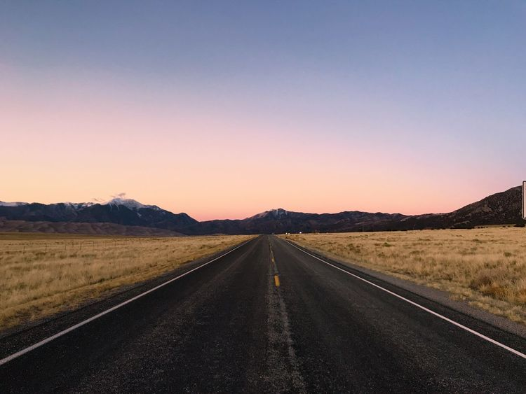 Lonely road No People EyeEm Team EyeEm Best Shots EyeEm Selects EyeEm Nature Lover EyeEm Best Shots Landscape Copy Space Transportation Nature No People Beauty In Nature Mountain Sunset