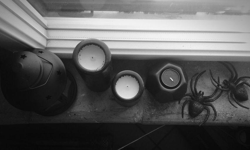 ♡ Blackandwhite Dark Light And Dark Candles Black Spiders Spiders In My Room Love Spiders Lovethem♥ Gothic
