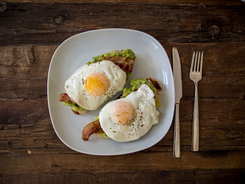 Simple Living Avacado Bacon Breakfast Brunch Cooked Directly Above Eggs Eggyolk Food Food And Drink Freshness Healthy Eating High Angle View Indoors  Indulgence Meal Plate Ready To Eat Ready-to-eat Serving Size Still Life Table Temptation Toast Wooden