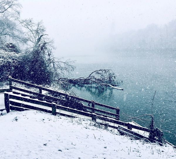 Snow just before Spring! March Snowfall Winter 2018 Boat Ramp, James River Falling Snow Water Sea Nature No People Day Beauty In Nature Horizon Over Water Outdoors Sky Close-up