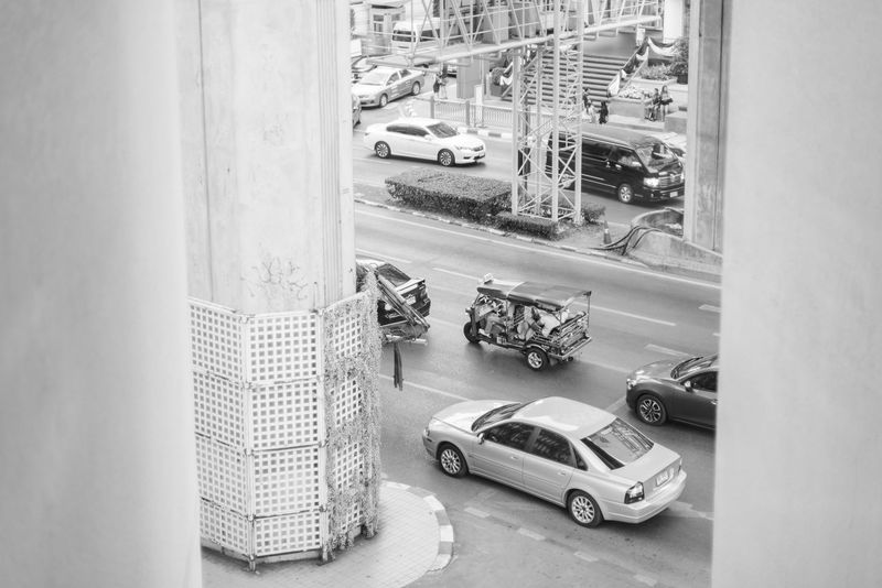 Architecture Bangkok Building Exterior Built Structure Car City High Angle View Land Vehicle Mode Of Transport Outdoors Pillars Road Street Thailand Transportation