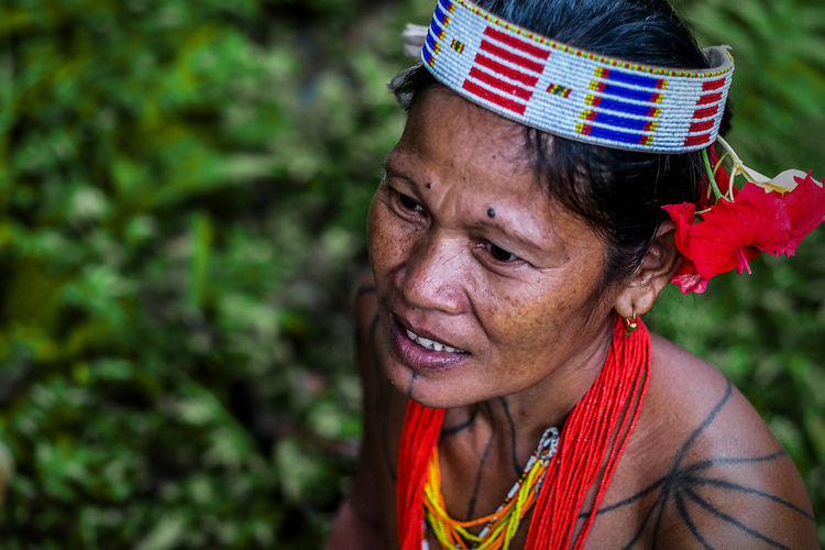 Close-up of tribal woman