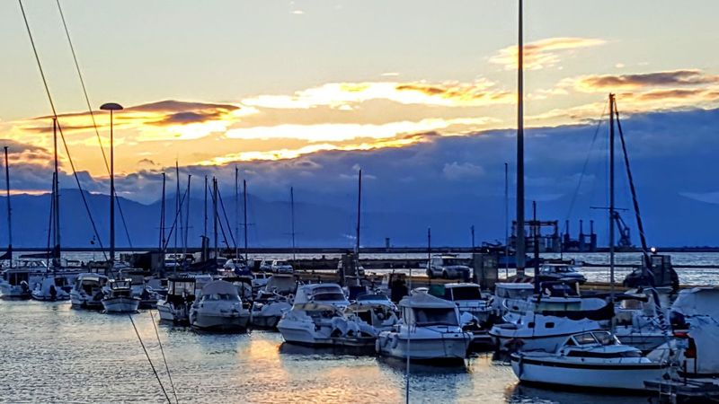 Mare ❤ Sea Sea And Sky Seaside Panorama Sky Water River Sardegna Instagramlove Sole Boat Sun Porto Photo Nuvole Instgram Marina Sailboat Pier Moored Mode Of Transport Commercial Dock Mast Yacht No People Tranquility Sunlight Blue Transportation