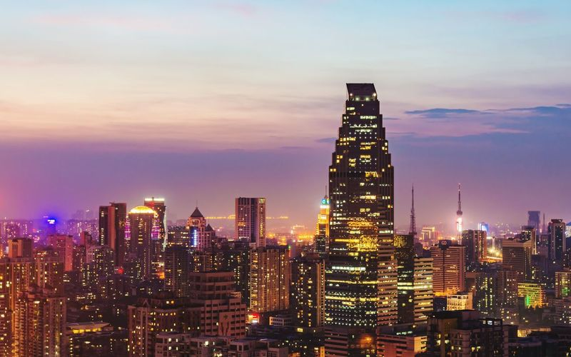 City Cityscape Building Exterior Architecture Sky Illuminated Skyscraper Modern Travel Destinations Sunset Urban Skyline No People Outdoors Night
