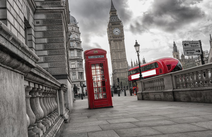 Red Phone booth with Big Ben and Red Bus in London at a cloudy day. Big Ben Copy Space Dramatic Sky Great Britain Lantern London London Streets Rainy Days Red Bus Red Phone Boxes United Kingdom Westminster Bus Clouds Color Key Elisabeth Tower Londonlife Phone Phone Booth Red Phone Booth Street Symbol Travel Destinations Urban Westminster Abbey