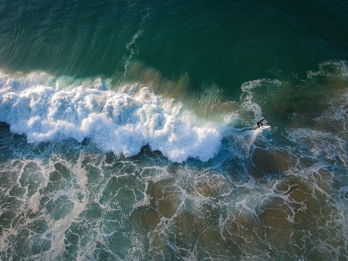 High angle view of man in sea