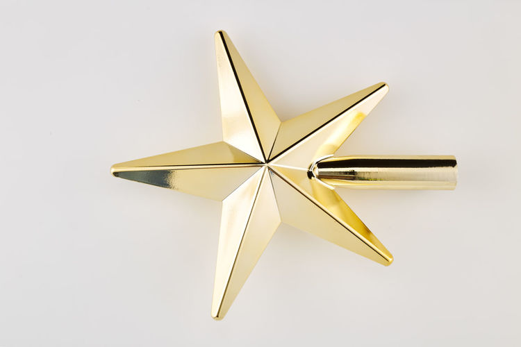 White Background Studio Shot Star Shape Indoors  Still Life No People Single Object Shape Cut Out Shiny Close-up Decoration Paper Two Objects Copy Space Gold Colored Art And Craft Christmas Decoration Christmas High Angle View