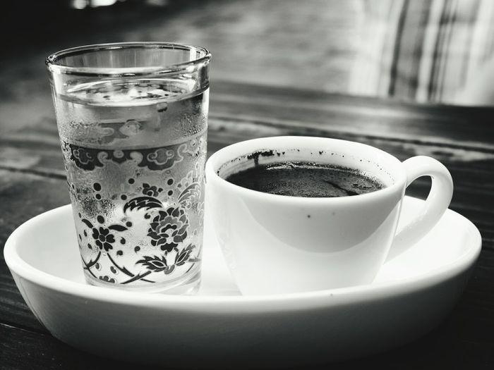 😍😋 Turkishcoffee Türkkahvesi Blackandwhite Photography EyEm Selects Eyemblackandwhite Eyemgallery Frothy Drink Drink Drinking Glass Coffee - Drink Coffee Cup Table Close-up Food And Drink Hot Drink Black Coffee