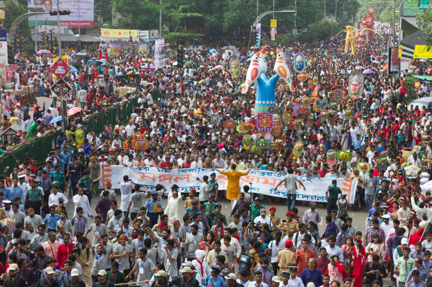 Large group of people were celebrating Bengali New Year in the Capital of Bangladesh, Dhaka. This is one of the most traditional colorful celebrations in Bangladesh. Bangladesh Bangladeshi Culture Bengali New Year Carnival Carnival Crowds And Details Celebration Colorful Colorful Dress Colors Culture Culture And Tradition Daylight Dhaka Gathering Group Of People Large Group Of People Multi Colored New Year People People In Color People Photography Photography Portrait Real People Red
