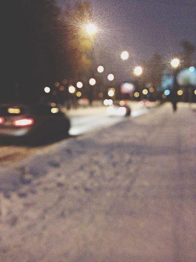 Night Night Lights Snow Taking Photos