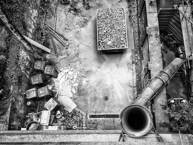 Black And White Friday Day Abandoned No People Outdoors Construction Construction Site Construction Work Yard Looking Down Blackandwhite Hole