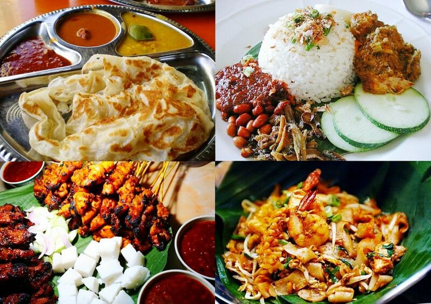 Malaysian Food Food And Drink Food Freshness Indoors  Variation High Angle View Indulgence Ready-to-eat Choice Temptation Appetizer Meal Plate Main Course Homemade Cooked Serving Size Serving Dish Multi Colored Various Nasi Lemak Sataychicken Roti Canai And Curries Kuehtiew