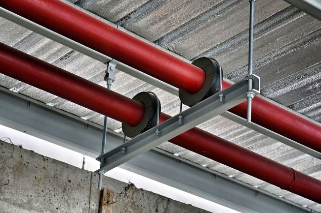 Pipe - Tube Pipe Support Hanging Rod High Angle View Red Metal
