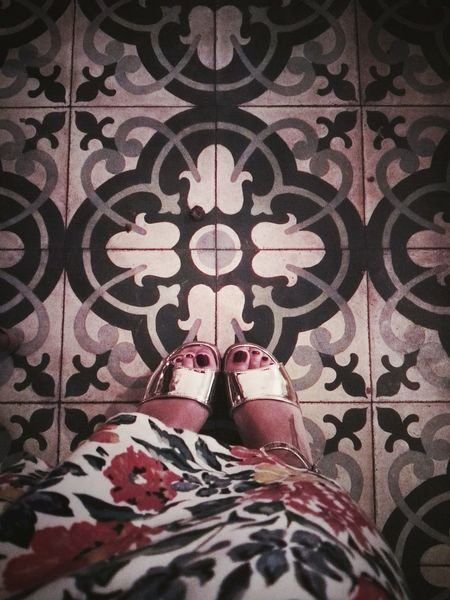 Feets Flowers Pattern Design Tiled Floor Architectural Detail