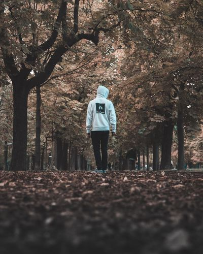 Tree One Person Rear View Walking Tree Trunk Nature Autumn Branch Forest Real People Full Length Outdoors Day Bare Tree Beauty In Nature Women Warm Clothing People Adult