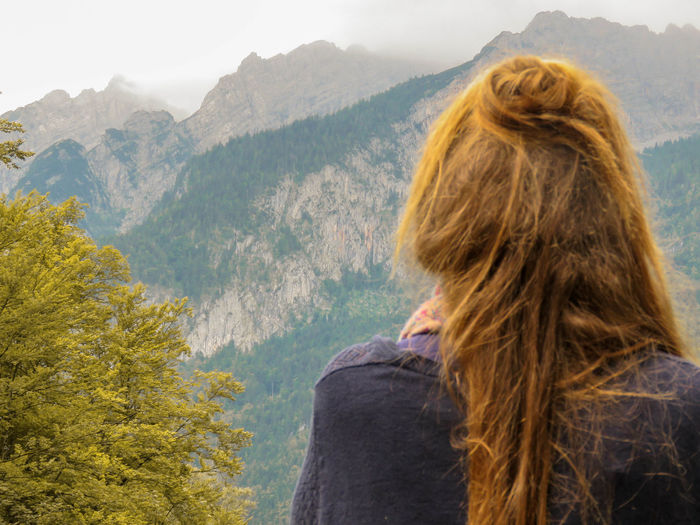 View Amazing Beauty In Nature Beutiful  Blond Hair Bun Clouds Day Girl Looking At View Hair Hairstyle Headshot Lightroom Long Hair Looking At View Lovly Mountain Mountain Peak Mountain Range Nature One Person Outdoors Portrait Rear View Women EyeEmNewHere Go Higher