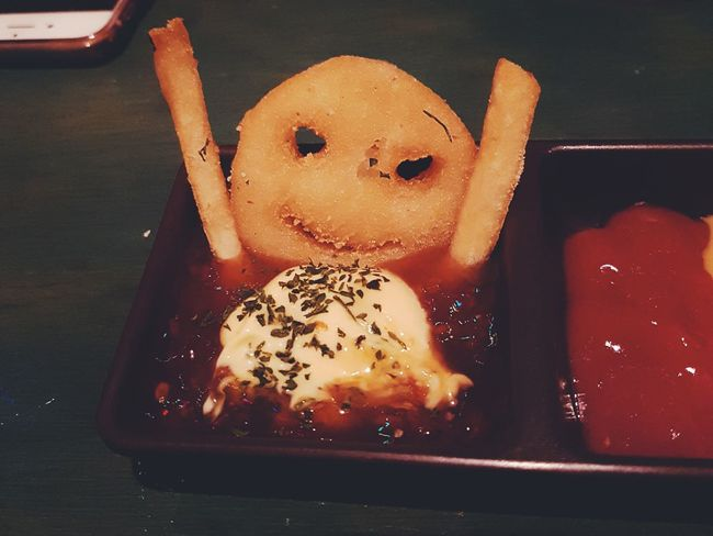 Indoors  Food French Fries Fries Korea Foodies Foodie Give Up Egg Yolk Healthy Eating Close-up Ready-to-eat One Person People Day SURRENDER Give Up On Everything Sauce Dips french fries dipped in ketchup sauce