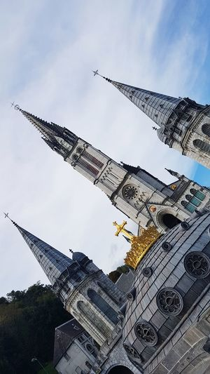 Lourdes Cross Church Church Architecture Virgen María Virgin Mary Travel Catholic Catholicism Catholic Church Gold Iglesia Travel Destinations France 🇫🇷 France France Photos City Sky Architecture Tall - High Tower 17.62°