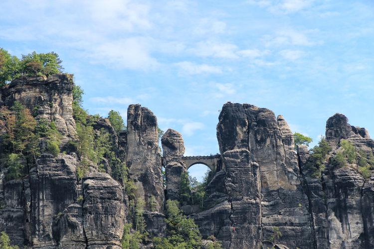 View of the bastei bridge in saxon switzerland