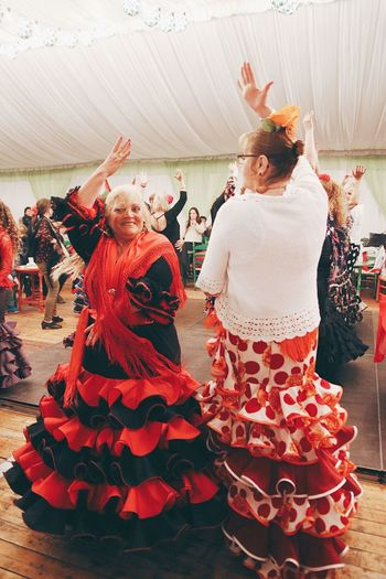 Celebration Dancing Women Traditional Clothing Tradition Only Women Smiling Fest Festival Feria De Abril Happy Cheerful Happiness Togetherness Dance