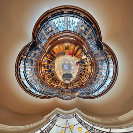 Liverpool central library Wood EyeEm Selects Architecture Built Structure Building Exterior No People Ceiling Directly Below Building Low Angle View Geometric Shape Circle Pattern Shape Illuminated Design Ornate Architectural Feature