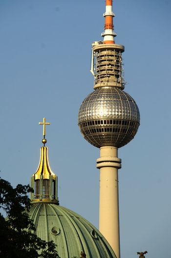 Alexanderplatz Architecture Berlin Mitte Blue Building Exterior Built Structure City Clear Sky Day Dome Fernsehturm Berlin  Low Angle View No People Outdoors Place Of Worship Religion Sky Spirituality Travel Travel Destinations Discover Berlin