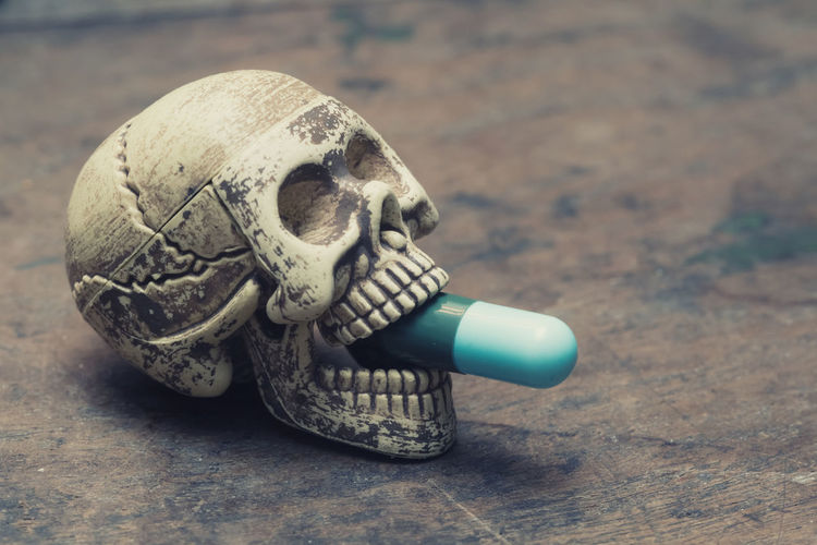Close-up of pills in human skull outdoors