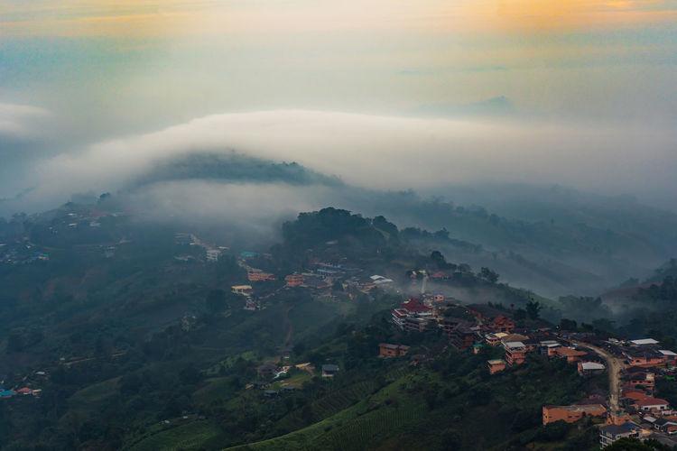 Beautiful landscape of mountain layer and winter fog at mae salong nai, chiangrai, thailand