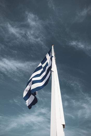 Acropolis Athens Greece Acropolis Cloud - Sky Sky Flag Patriotism Striped Low Angle View No People Nature Wind Day Environment Waving Pole White Color Outdoors Pride Sunlight Motion