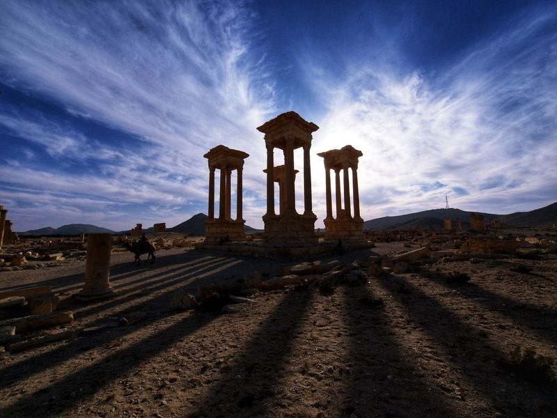Tetrapylon in Palmyra, Syria. Now destroyed by IS. Syria  History Old Ruin Cloud - Sky Architecture Ancient Architectural Column Sky Ancient Civilization Palmyra Travel Destinations Palmyra Ruins Shadows & Lights EyeEmNewHere Olympuscamera