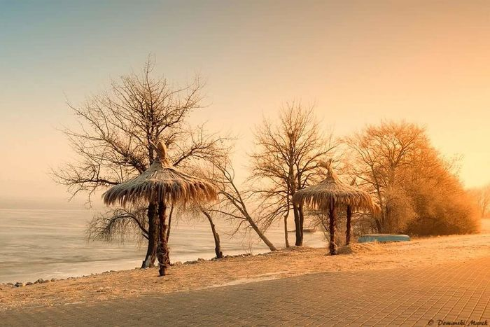 Wisla cold Sunset No People Nature Horizon Over Water Beauty In Nature Water Scenics Bare Tree