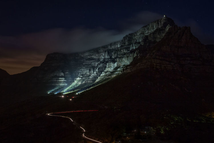 Scenic View Of Table Mountain Against Sky At Night