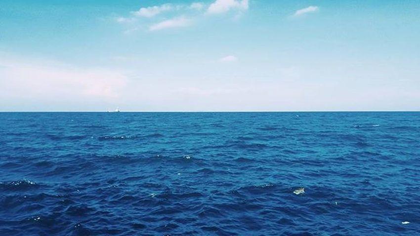 The horizon 🌊💙 Itu yang putih2 bukan buih ombak, ikan atau biota laut lainnya. Tapi sampah. Ocean Sea Saveourocean Deepsea Latepost RumahApung Imbadathashtags