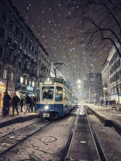 Public Transportation Railroad Track Sky Land Vehicle Rail Transportation Outdoors Night Architecture No People