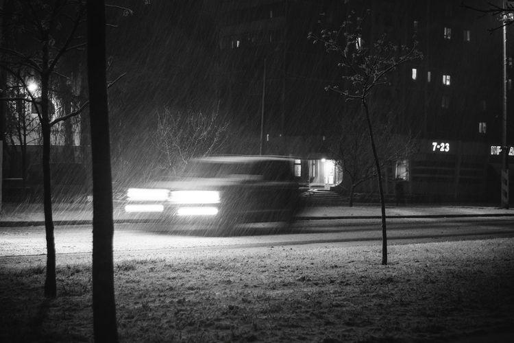 Night Illuminated Transportation No People Outdoors Early Winter Snowfall Monochrome Monochrome Photography Black And White Black And White Photography Night Lights Street Photography Night Street Monochrome Night From My Point Of View Open Edit By Ivan Maximov Mazyr Belarus Motion Adapted To The City