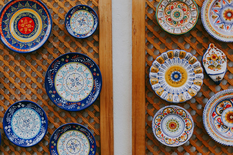 Art And Craft Tiles Decoration SPAIN Close-up Creativity Floral Pattern Circle Shape Vintage Plate