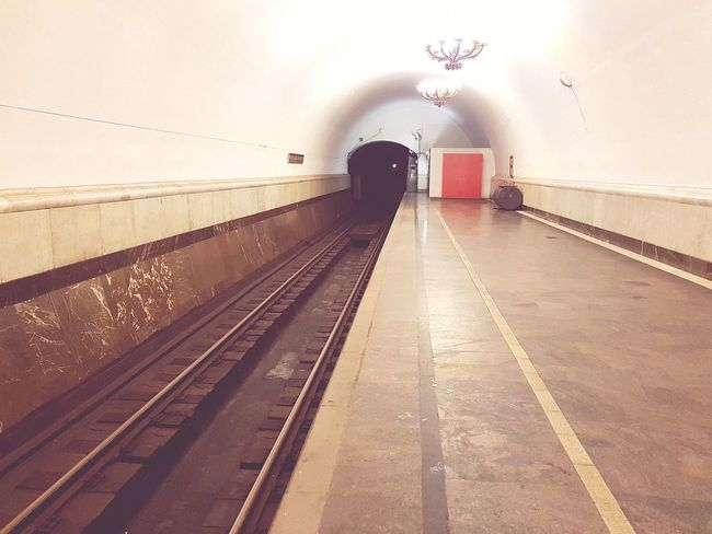 Railroad Track Transportation Rail Transportation Railroad Station Arch Railroad Station Platform No People Outdoors Night Sky When The Underground Station  Is Free From  People